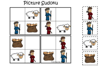 Cain and Abel Picture Sudoku printable game. Preschool Bible Study Curriculum