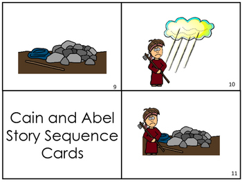 Cain and Abel Story Sequnce Cards. Preschool Bible Literacy Curriculum.
