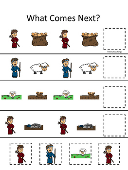 Cain and Abel What Comes Next printable game. Preschool Bi