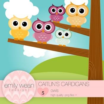 Caitlin's Cardigans - Owl Clip Art