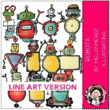 Melonheadz: Robots clip art - LINE ART