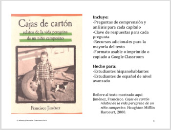Cajas de cartón: Comprehension and Analysis Questions and Additional Resources