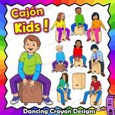 Cajon Drum Clip Art | Kids Playing Cajon Drums