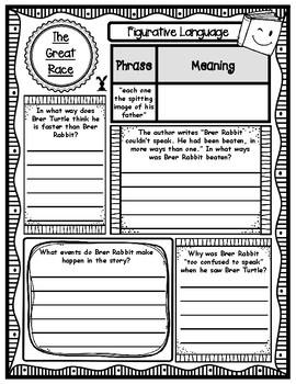 "Cajun Folktales ""The Great Race"" Reading Comprehension Companion Organizer"