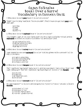 Cajun Folktales Vocabulary Bouki Over a Barrel (from: Lapin Plays Possum)