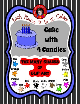 Cake Clip Art with 4 lit candles ~ coordinates with other