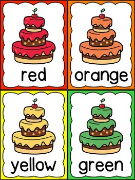 Cake Color Word Posters & Memory Cards
