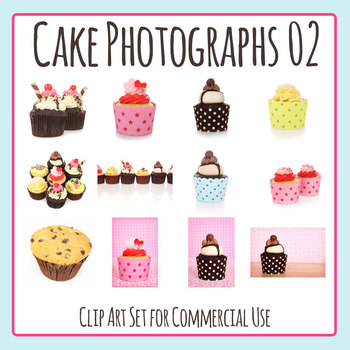 Cake Photos Two - Cup Cake Photograph Clip Art Set for Commercial Use