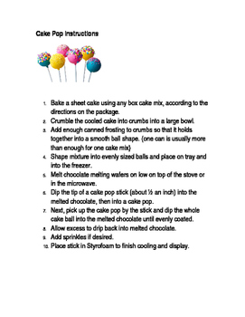 Cake Pop Instructions
