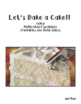 Cake Recipe Task Cards: Variables on Both Sides