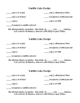 Cake Recipe Task Cards: Variables on Both Sides with Special Cases