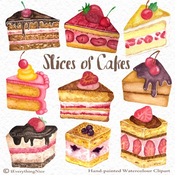 Cake Slices / Slices of Cakes Hand Painted Watercolour Cli