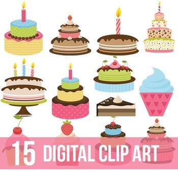 Cake clip art,Birthday cake clip art,Digital clip art - Instan Download