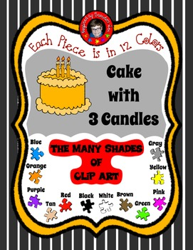 Cake with 3 Candles in 12 colors ~ Commercially Friendly Clip Art ~ Freebie