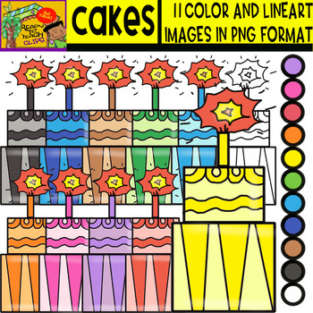 Cakes - Cliparts Set - 11 Items