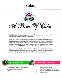 Cakes Game / Activity