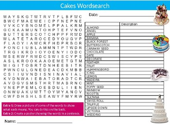 Cakes Wordsearch Puzzle Sheet Keywords Food Health Science Nutrition