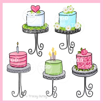 Cakes, set of 5, cake clip art, cake on stand Printable Tracey Gurley Designs