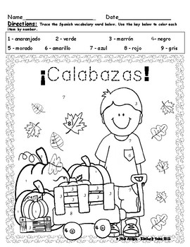 Calabaza Color by Number - Spanish (4 pages)