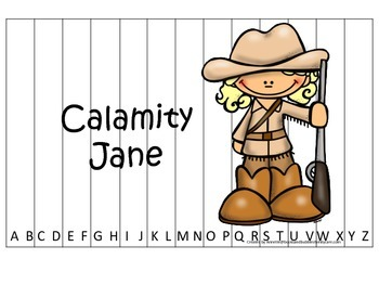 Calamity Jane themed Alphabet Sequence Puzzle.  Preschool learning game.
