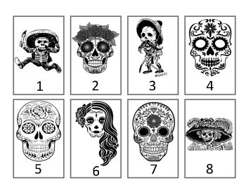 Calaveras Grouping Cards--Black-and-White