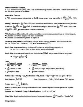 Calc AB AP Exam Summary and Important Points