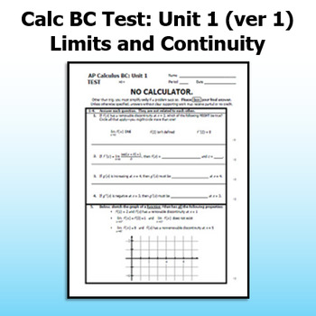 Calc BC Test - Unit 1 - Limits and Continuity