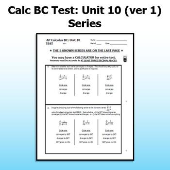 Calc BC Test - Unit 10 - Series