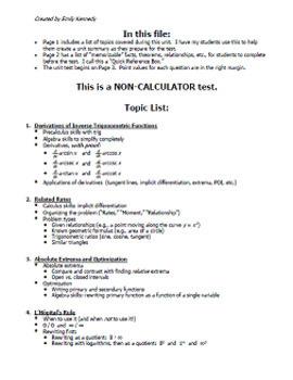 Calc BC Test - Unit 4 - More Applications of Derivatives