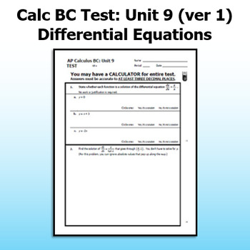 Calc BC Test - Unit 9 - Differential Equations