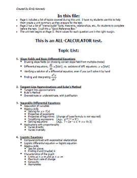 Calc BC Test - Unit 9 ver1 - Differential Equations