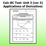 Calc BC Test ver3 - Unit 3 - Some Applications of Derivatives