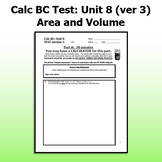 Calc BC Test ver3 - Unit 8 - Area and Volume