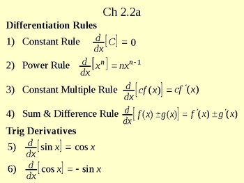 Calc Ch 2 2a Differentiation Rules