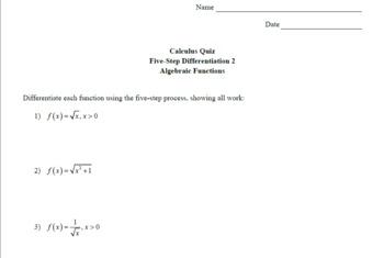 Calc Vid & Quiz - Diff by Def 1 - Alg Functions w/ Solns