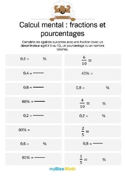 Calcul mental - Fractions et pourcentages 2 - Egalités fractions, décimaux et %