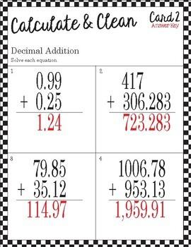 Calculate & Clean: Decimal Addition