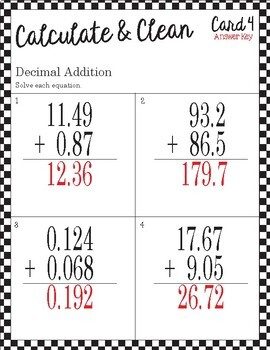 Calculate & Clean: Decimal Addition