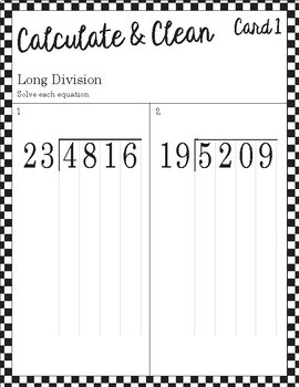 Calculate & Clean: Long Division with Double Digit Divsor