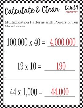 Calculate & Clean: Multiplication Patterns with Powers of Ten