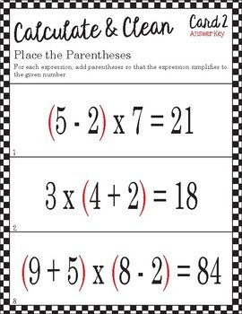 Calculate & Clean: Order of Operations - Place the Parentheses