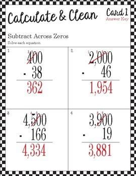 Calculate & Clean: Subtracting Across Zeros