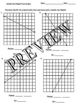 Calculate Midpoint Using Graphs Worksheet with key GPE.B.6