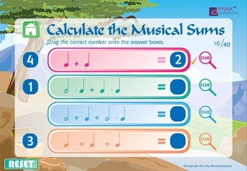 Calculate The Musical Sums Interactive Music Game