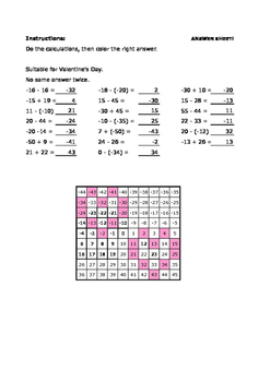 Calculate and color - Adding and subtracting - For Valentine's Day