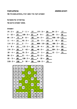 Calculate and color - Multiplying and dividing - For christmas