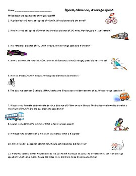 Calculate speed, distance and average speed worksheet