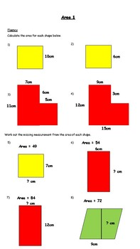 Calculating Area Worksheet