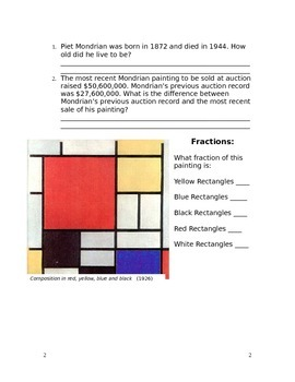 Calculating Area and Perimeter with Piet Mondrian