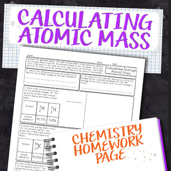 Calculating Average Atomic Mass Chemistry Homework Worksheet Tpt